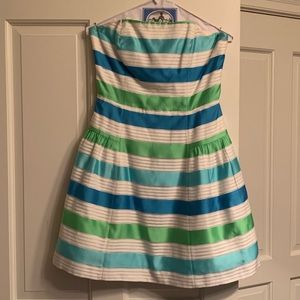Lilly Pulitzer Blue and green strapless dress